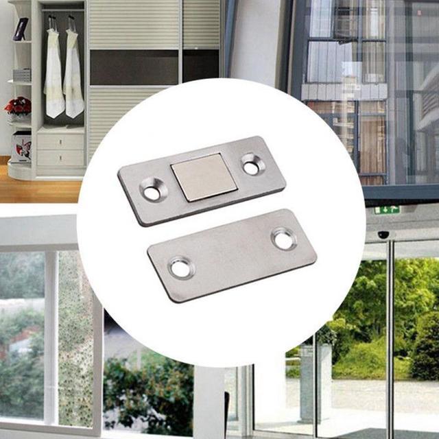 2Pcs Strong Ultra Thin Magnetic Door Catch Door Closer lock Door Latch Door  Magnet for Furniture Cabinet Cupboard with Screws