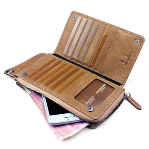 Image 3 - High Quality Men s zipper wallet cowhide phone wallets multi functional hand bag cow leather purse A375
