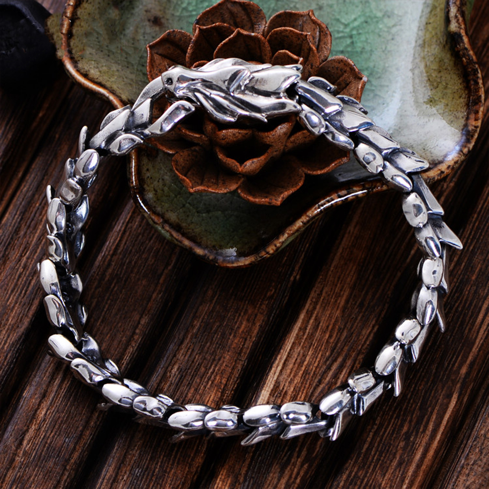 MetJakt Vintage Thai Silver Keel Men's Bracelet Solid 100% S925 Sterling Silver Punk Rock Bracelet for Luxury Male Biker Jewelry
