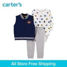 3pcs football print bodysuit cute slogan Side pockets vest set Carter's baby boy spring autumn clothing 121I893