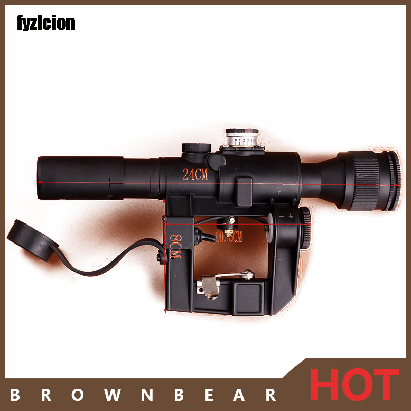 Scope for Outdoor Hunting Tactical Red Illuminated 4x24 PSO-1 Type Riflescope for Dragonov SVD Sniper Rifle Series AK Rifle red illuminated 4x24 pso 1 type scope for dragonov svd sniper rifle series ak riflescope hunting trail rifle scopes