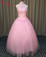 Jark Tozr Vestido De Debutante High Neck Beading Appliques Pink Tulle Sweet Ball Gown Quinceanera Dresses