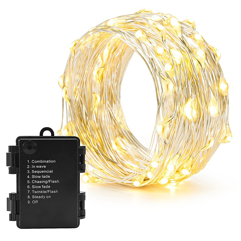 10m 100led 8mode string lights battery Christmas LED light Holiday decorative copper wire lamp New year