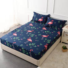 Waterproof Flamingo Printing Bed Mattress Cover Fitted Sheet Air-Permeable Home Textile Grippers Bed Linen(China)