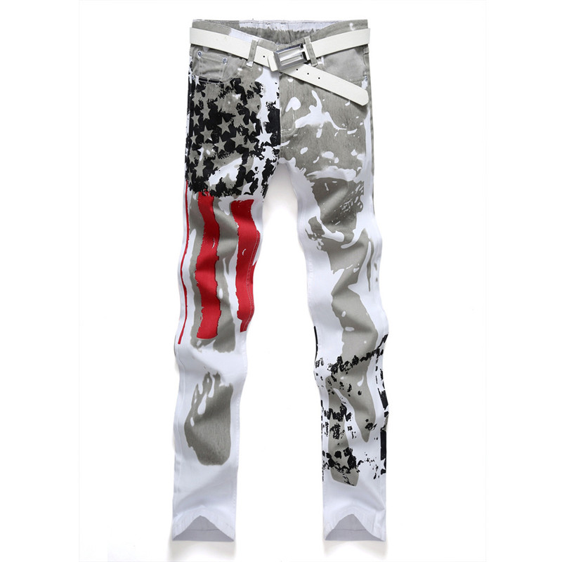 2017 New Spring Printed Jeans Pants American Flag Pattern Painted Denim Hip Hop Slim Fit Strentch Trousers White Size 28-38 fashion europe style printed jeans men denim jeans slim black painted pencil pants long trousers tight fit casual pattern pants