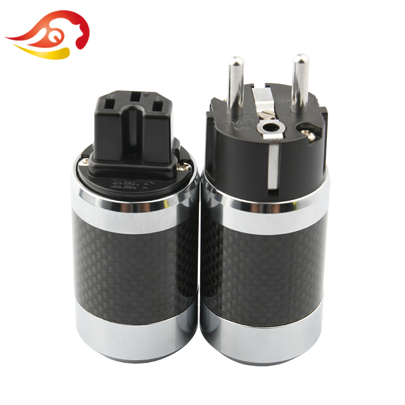 QYFANG Professional Carbon Fiber Rhodium Plated EU Schuko AC Power Plug IEC Male Female Jack HiFi Audio Speakon Power Connector