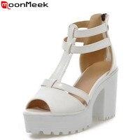 MoonMeek New big kích thước thời trang trắng nền tảng phụ nữ dép sexy trắng màu hồng màu xanh cao gót dép phụ nữ ăn mặc giày người phụ n