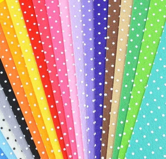 Фетр Ткань горошек печатных 20 смешивать цвета мульти полиэстер DIY нетканого 29x29 см украшения только хорошее качество