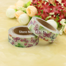 1pcs NEW 15mm*10m Beautiful Butterfly Washi Tape Paper Decorative Adhesive Tape DIY Scrapbooking Stickers Label Masking Tape