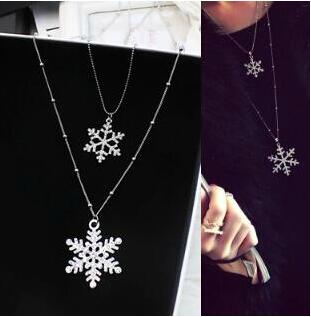 Korean Jewelry Silver Double layers Crystal snowflake Necklaces Pendants Sweater Chain For Women Winter Style Christmas Gifts