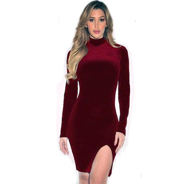 f5ccf072122 Élégant Rouge robe en velours Sexy D hiver Fente Moulante à manches longues  de Soirée