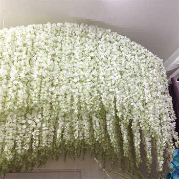 10Pcs Artificial Wisteria Flower rattan 120cm white Hydrangea vine Wedding party Decoration window ceiling decor fake flowers - DISCOUNT ITEM  25% OFF All Category