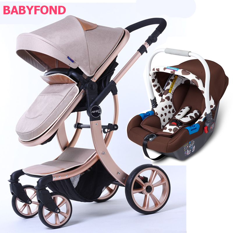 Free shipping !3 in 1 EU Baby Stroller high quality Export High Landscape trolley Can Sit and Lying baby Cart with car seat belecoo bei li ke high landscape baby cart trolley can sit and fold the double direction shock 3 in 1 baby stroller