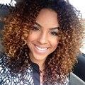 Ombre Corto Y Rizado Pelo Virginal Brasileño Pelucas Llenas del Cordón Para Las Mujeres Negras Afro Rizado Glueless Pelucas Llenas Del Cordón Blonde Color Del Cordón Peluca Delantera