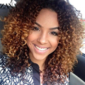 Ombre Short Curly Brazilian Virgin Hair Lace Wigs For Black Women Afro Curly Glueless Full Lace Wigs Blonde Color Lace Front Wig
