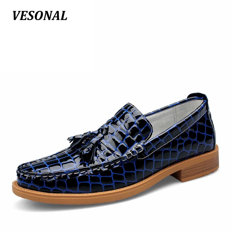VESONAL Slip On Formal Shoes Luxury Genuine Leather Loafers Men Shoes Dress Oxfords Fashion Mens Shoes Casual Boat Moccasins top quality crocodile grain black oxfords mens dress shoes genuine leather business shoes mens formal wedding shoes