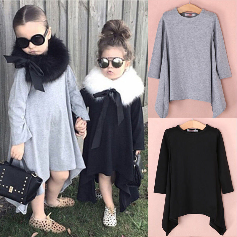 HOT Baby Girls Kid Toddler Long Sleeve Swing Maxi Batwing Loose Asymmetric Dress Autumn Winter Clothes spring outfits for kids