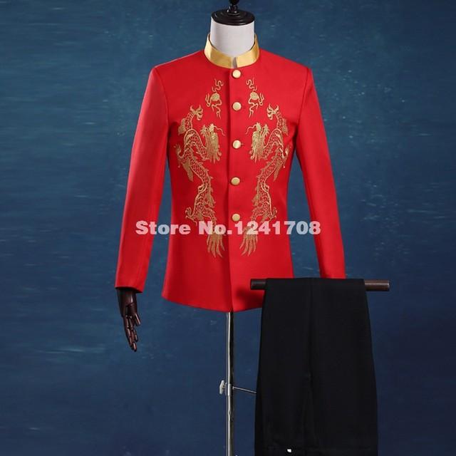 Nova marca Red Dragão Bordado noivo smoking slim fit Ternos de Casamento para homens Blazers