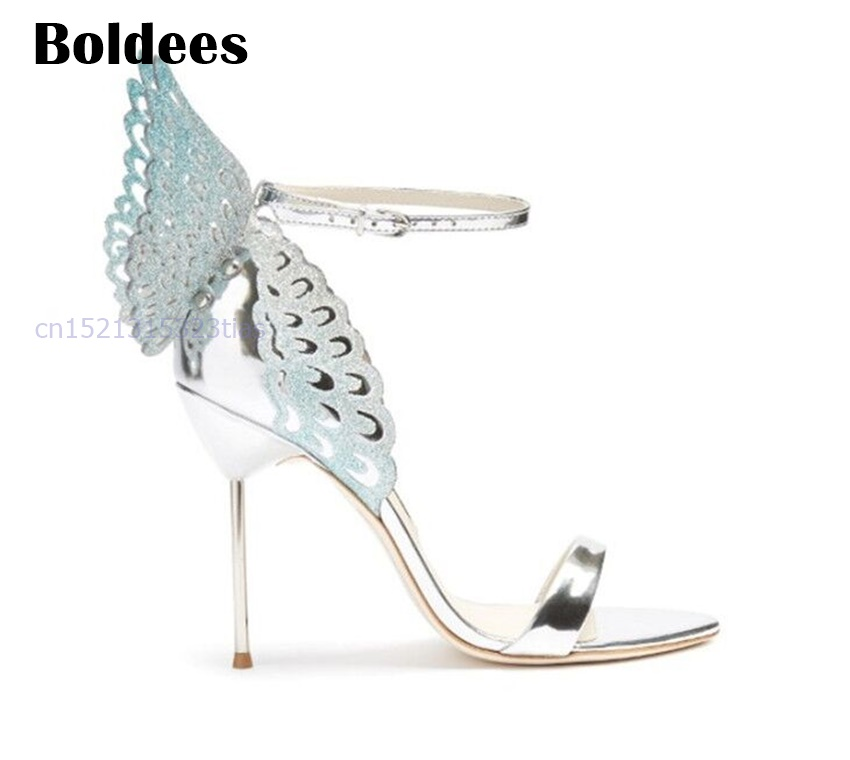 Zapatos Mujer Gorgeous Summer Women Shoes Butterfly Wings Sexy Lake Blue Pumps Thin High Heels Sandalial Shoes Women New