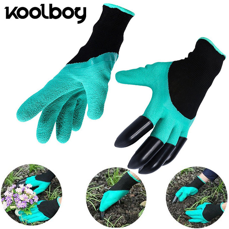1 pair  2pcs Home Garden Digging Gloves with 4 ABS Plastic Claws for garden Digging Planting Rubber Green Gloves Tools