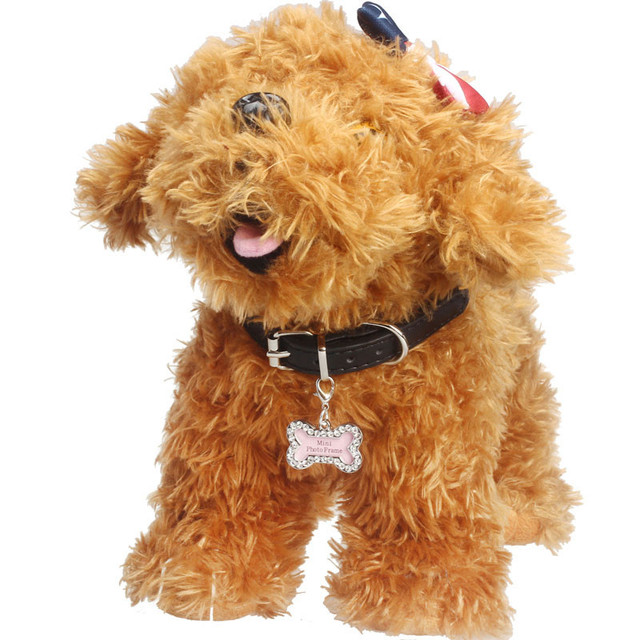 2016 New Pet Puppy Identity Tag Rhinestone Bone Cat doggy pendant tags Pearl Jewelry style mini photo frame tag alloy on sale