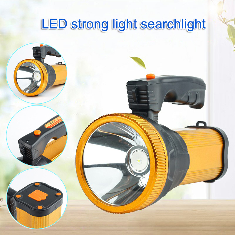 LED Rechargeable Flashlight Super Bright Searchlight Handheld Portable Spotlight CLH@8 portable spotlight lantern high power super bright led searchlight outdoor handheld usb rechargeable flashlight lamp