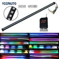 Araba Polis Acil Uyarı Su Geçirmez Kablosuz Uzaktan RGB Flaş LED Şerit 56 CM 48 SMD Esnek Strobe Sinyal Fren işık