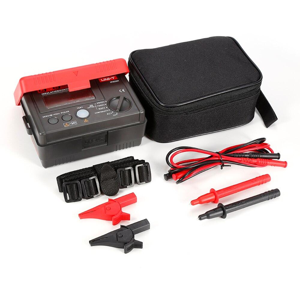 UNI-T UT502A 2500V Insulation Resistance Testers Megohmmeter Voltm eter Continuity Tester megger w/LCD Backlight Diagnostic-tool