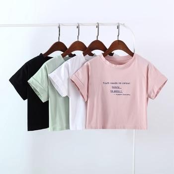 f6c5a04b6 Camiseta de manga corta para mujer harajuku con estampado de letras Rosa  camiseta dulce recortada tops