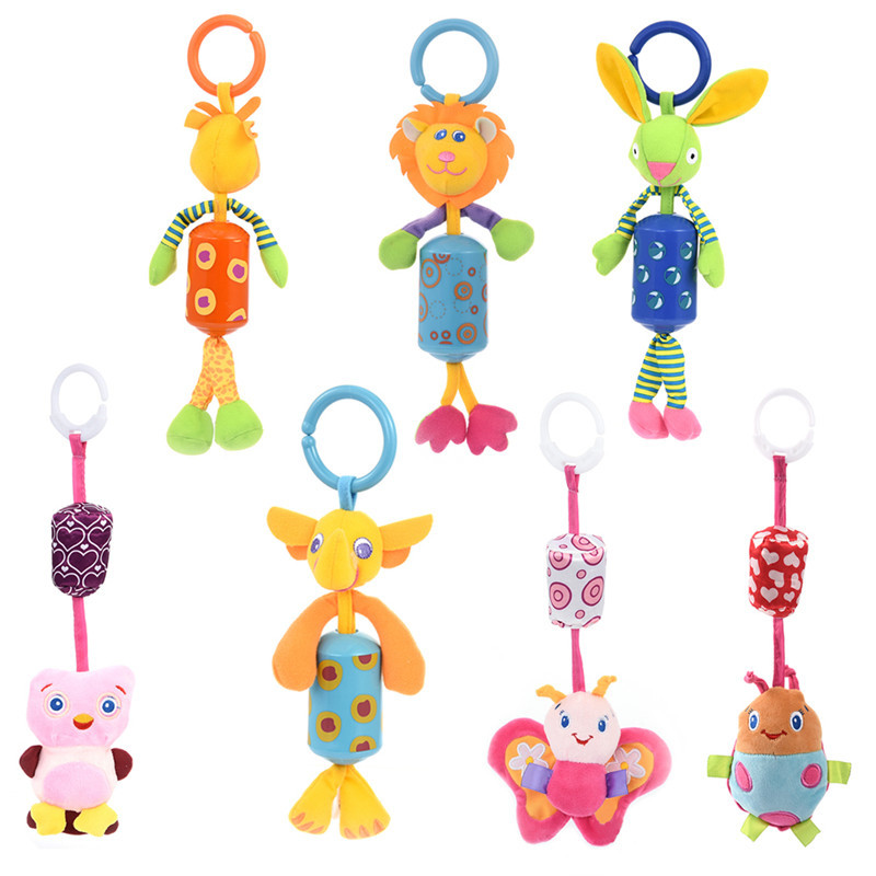 Creative Super Soft And Safe Baby Plush Toy Hanging Small Animal Bell Ring  Pendant For Baby Safety Chair Birthday Gift Doll