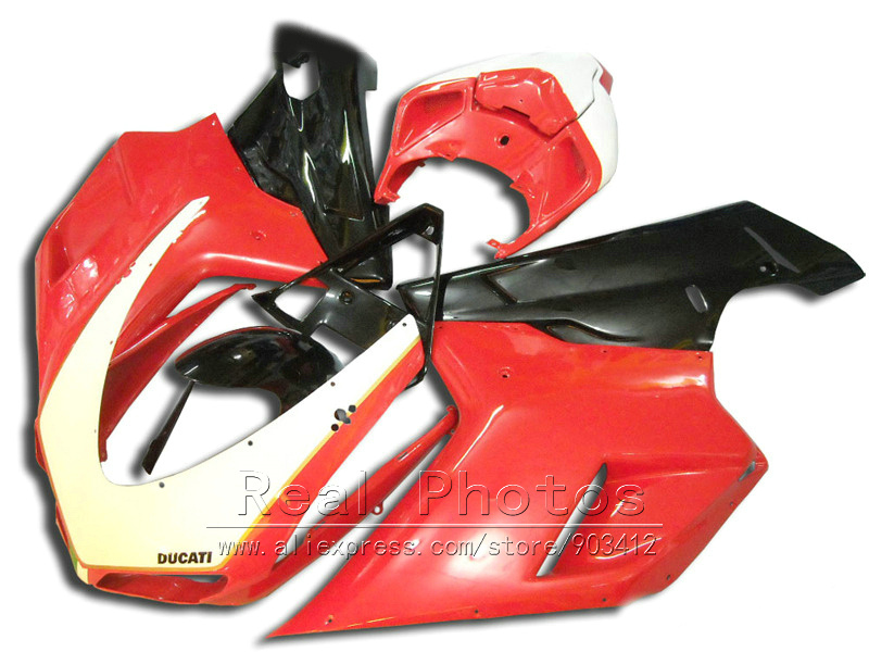 Free 7 gifts fairings for Ducati 848 1098 1198 07 08 09 10 11 red black fairing kit 848 1198 2007 2008 2009 2010 2011 AS27
