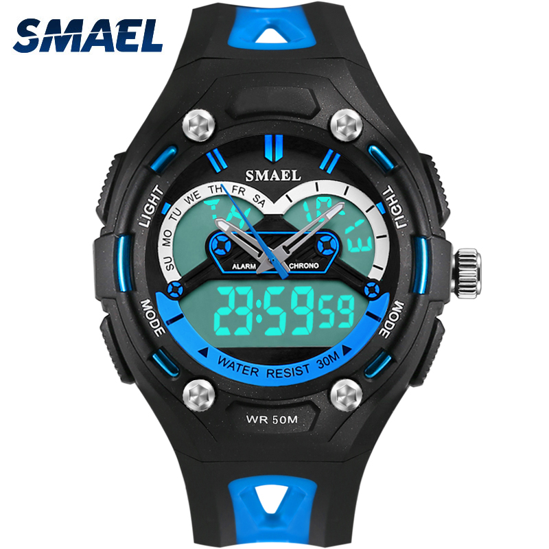 2017 New Brand SMAEL Children s Watches LED Display Dual Time Sports Stopwatch PU Strap Fashion