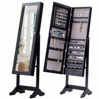 Goplus Standing Lockable Mirrored Jewelry Armoire With Stand And 2 Drawers Adjustable Jewelry Cabinet Organizer Storage