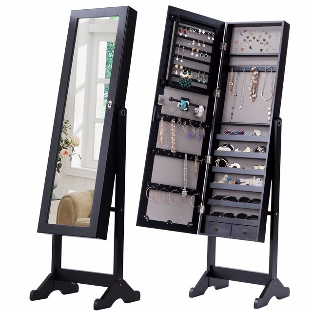 Goplus Standing Lockable Mirrored Jewelry Armoire with Stand and 2