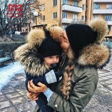 Комплект из 2 предметов, одинаковая шапка для всей семьи, осенняя теплая зимняя шапка для маленьких девочек и мальчиков, Gorros Para Bebe, детская вязаная шапка с помпоном из искусственного меха