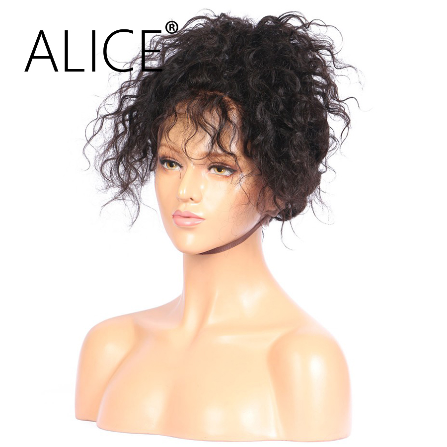 ALICE Kinky Curly Full Lace Human Hair Wigs 8″-24″ Brazilian Non Remy Hair For Black Women Hand Tied Pre Plucked Bleached Knots