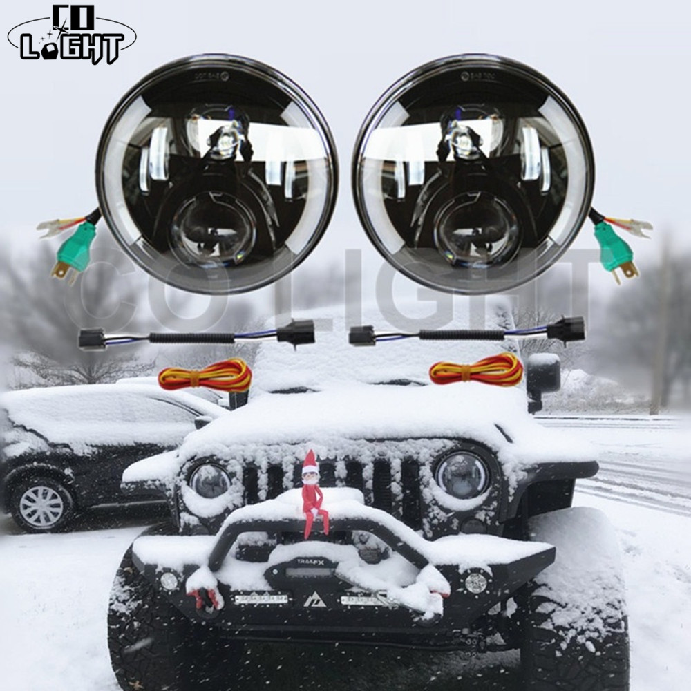 COLIGHT Led Headlight 7 inch 80W Hi/Low Led 12V Angel Eye DRL Auto External Lights for OffRoad 4x4 Jeep Wrangler Jk Tj Lada Niva black chrome round 75w high low beam drl led auto headlight driving fog lights for jeep wrangler hummer h1 h2 offroad