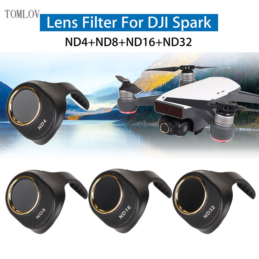 TOMLOV ND4+ND8+ND16+ND32 Filter Lens Protector For DJI Spark Drone Quadcopter Portable+free shipping+1 year warranty