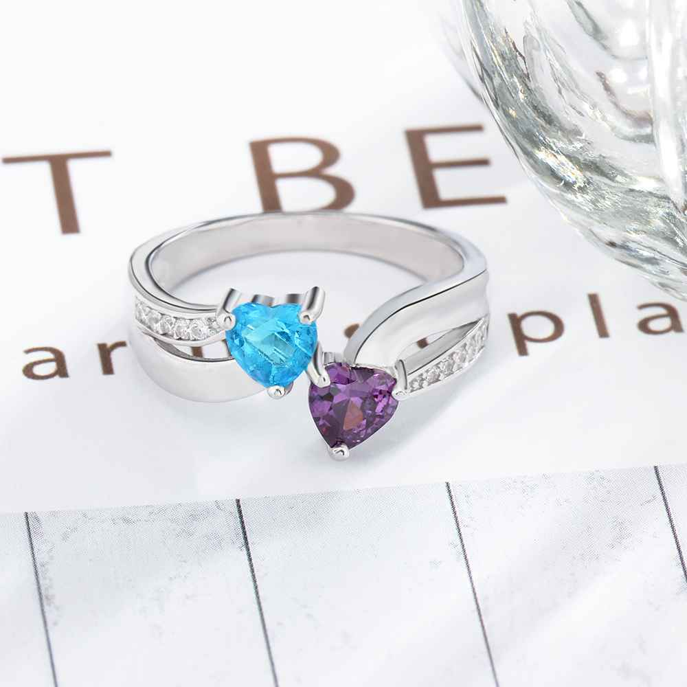 925 Sterling Silver Ring DIY Heart Birthstone Name Classic Rings Anniversary Gift Mother 39 s Day For Wife Lam Hub Fong in Rings from Jewelry amp Accessories