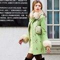 Dabuwawa ladies green long sleeve fur woolen coat