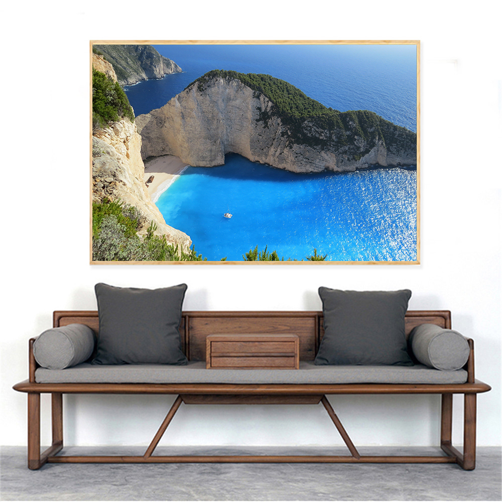Beach Home Decor Wall Art Pictures Sunset Landscape Bay Waterfront Nature Canvas Painting Large Size Posters and Prints Cuadros image