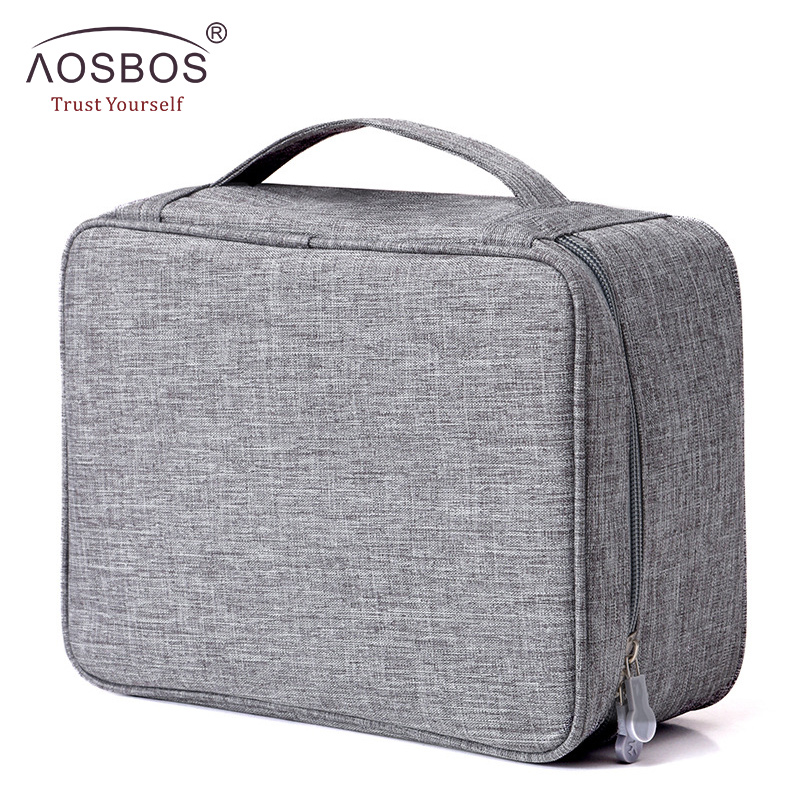 Aosbos Women Travel Portable Makeup Bag Fashion Waterproof Toiletry Bags Multifunction Solid Cosmetic Organizer Bag for Men цена