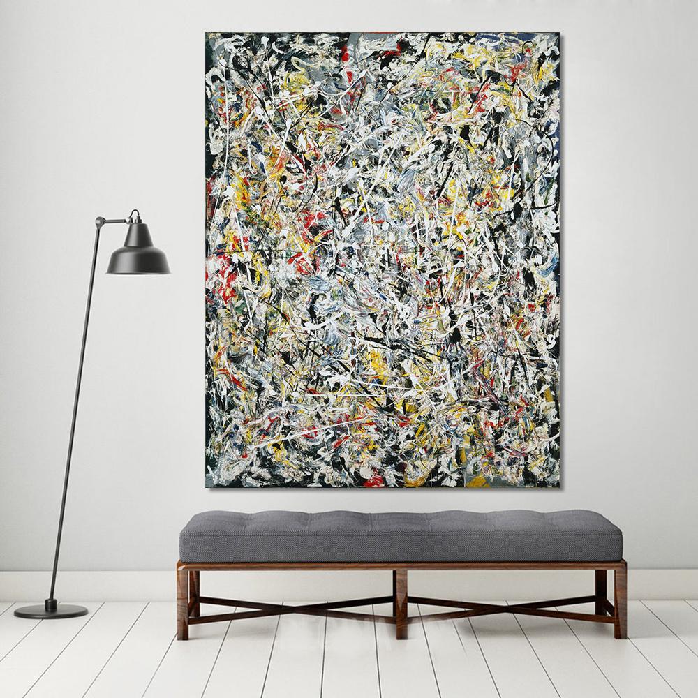 QKART Obras de Arte Abstracto Pintura Al Óleo Luz Blanca Arte de La ...