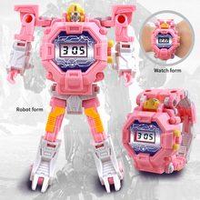 2 in 1Deformation Robot Action Trasformation Wristwatch Kids