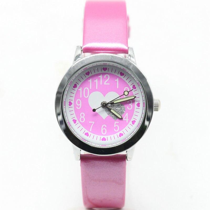 New Love Hearts Child Watches Girl Leather Strap Cartoon Kids Watch Students Quartz Wristwatch Casual Fashion