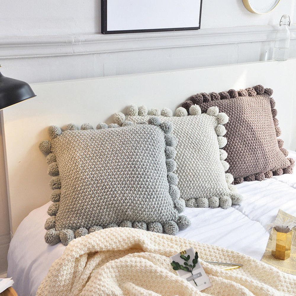 Enipate Knitted Square Decorative Cushion Cover Cute Fur Plush Ball Tassel Sofa Bed Room Throw Pillow Case Textile Home Decor