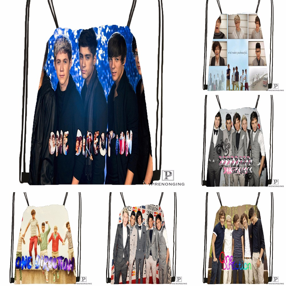 Custom One Direction Drawstring Backpack Bag For Man Woman Cute Daypack Kids Satchel (Black Back) 31x40cm#180531-01-24