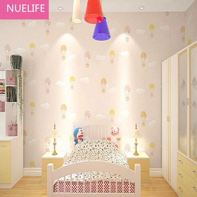 053x10m Light Pink Balloon Bear Pattern Non Woven Wallpaper Brown Yellow Blue Boy