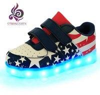 STRONGSHEN USB opladen Mode kleurrijke gloeiende student schoenen jongen ghost stap LED lichtgevende sport sandalen van de meisjes