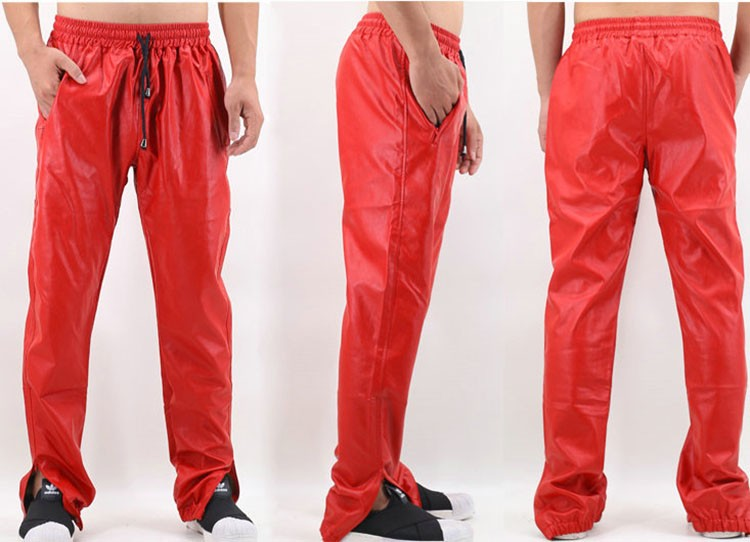 PU Leather Pants Men Elastic Waist Plus Size Side Zipper Hip Hop Leather Trousers Fashion Kanye West Justin Bieber Style Pants (10)